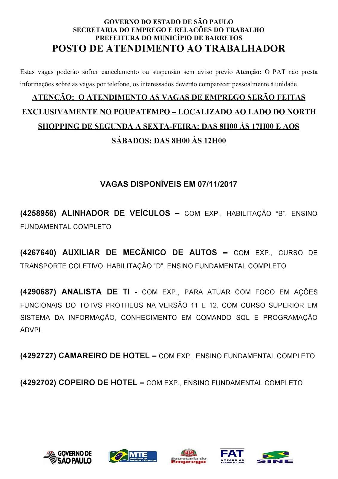 VAGAS DE EMPREGO DO PAT BARRETOS-SP PARA 07/11/2017 TERÇA-FEIRA - PAG.1