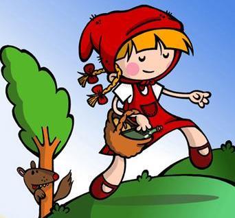Dibujo de la Caperucita Roja siendo perseguida por el lobo