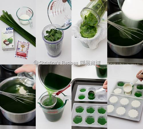 班蘭椰汁雙色糕製作圖 Pandan-Coconut Layered Agar Jelly Procedures01