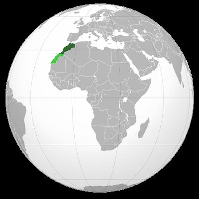 Изображение контуров Марокко на глобусе Земли