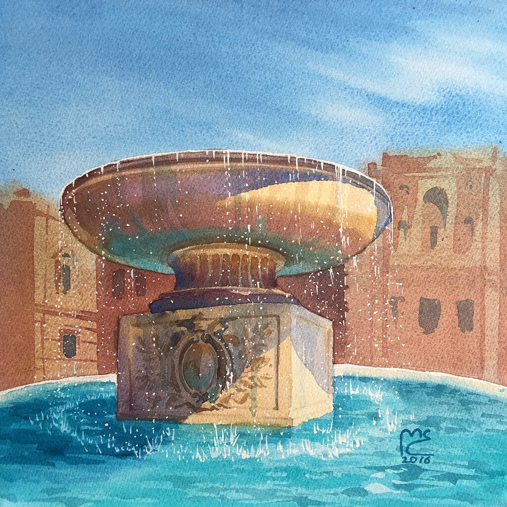 14-Fountain-Rome-Vatican-City-Italy-Eleanor-Mill-European-Architecture-in-Watercolor-Paintings-www-designstack-co