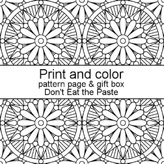 Print and color a pattern page and gift box