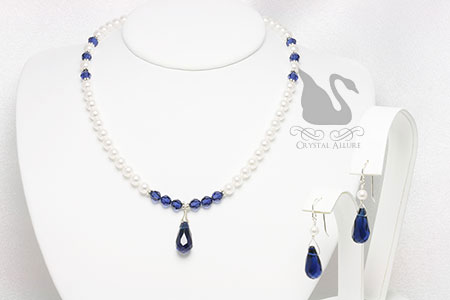 Princess Diana Inspired: Royal Blue Sapphire Crystal Pearl Beaded Necklace Set (NES2)