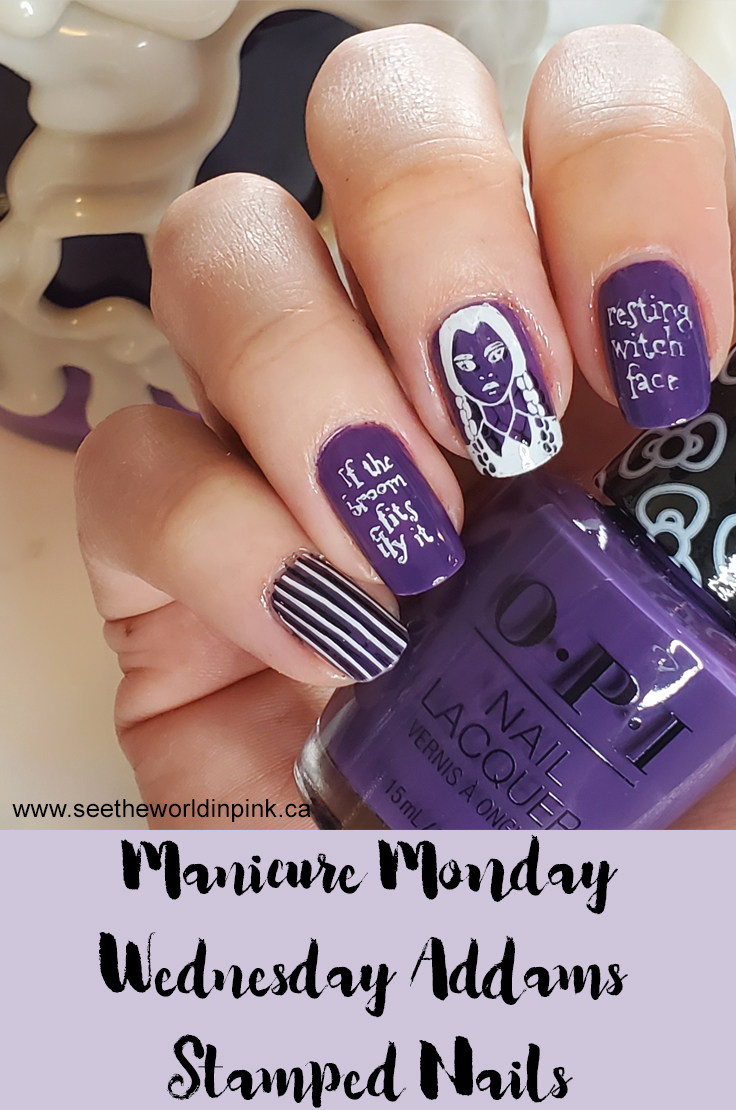 Manicure Monday - Wednesday Addams Halloween Stamped Nails