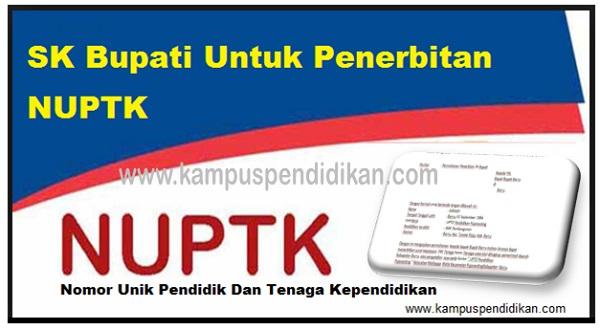 Download Surat Pengajuan SK Bupati Untuk Syarat Penerbitan NUPTK 2019