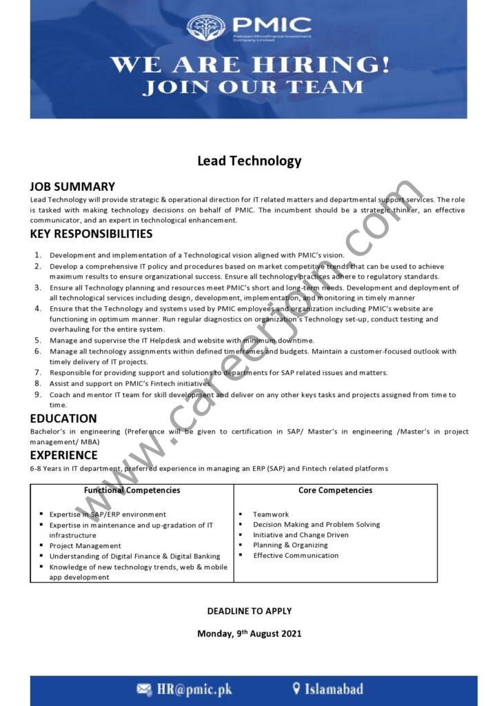 Pakistan Microfinance Investment Company PMIC Jobs Lead Technology