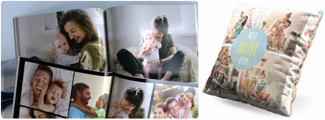 a photo book and cushion for mothers day