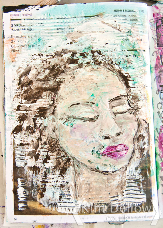 An Art journal portrait in Gesso and DecoArt Media Fluid Acrylics full face