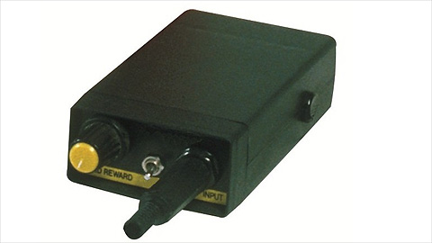 The tfh sound switch is a fairly small rectangular black box, pictured hwere with an on/off switch, input socket and a reward dial.