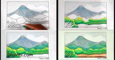Cara mewarnai gambar pemandangan gunung merapi