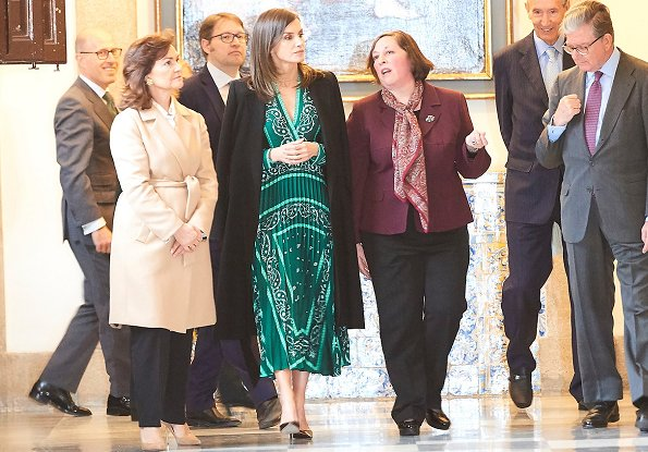 Queen Letizia wore Sandro iconic scarf-print dress, Prada pumps and Carolina Herrera coat for Inauguration of Real Monasterio de la Encarnacion