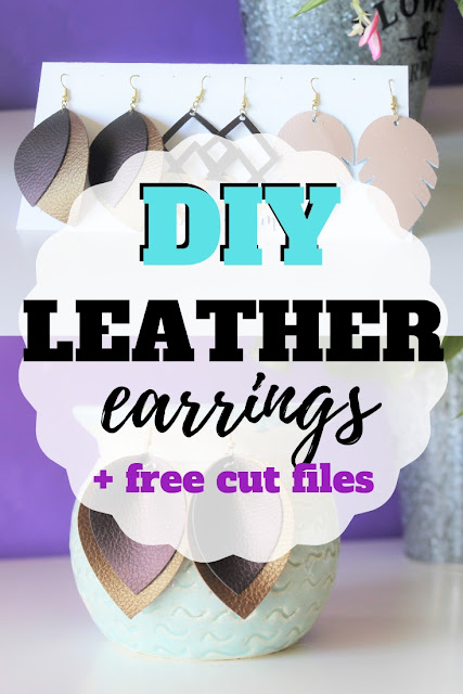 Download these free diy leather earring cut files to use with your Cricut or Silhouette cutting machines.