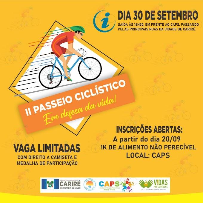 Dia 30/09, às 16h30, haverá o II Passeio Ciclístico em Defesa da Vida, pelas ruas de Cariré-CE