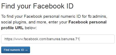 Masukkan alamat fb dan klik find numeric id