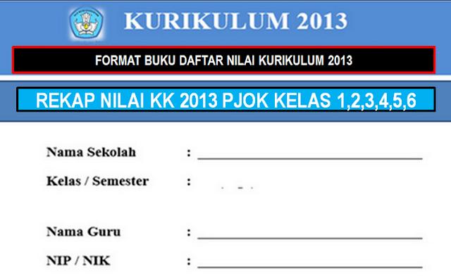 Format Buku Daftar Nilai PJOK Kelas 1,2,3,4,5,6 KK 2013