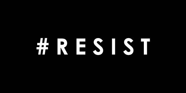 image of a large black rectangle with the word RESIST in the middle, in white text