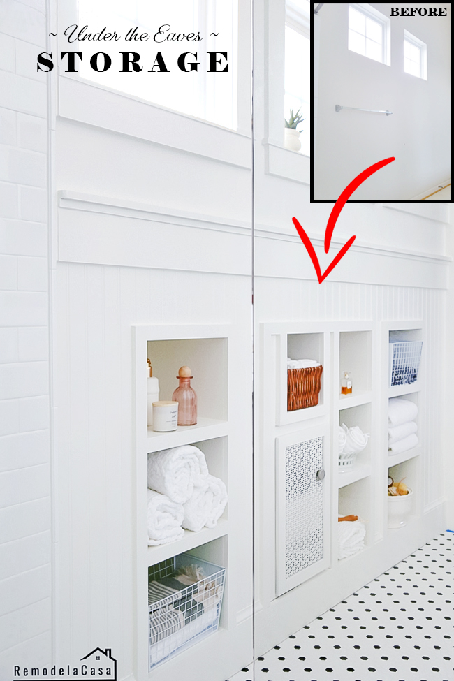 Bathroom storage space - shelves under the eaves