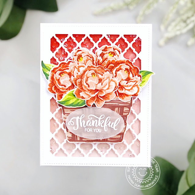 Sunny Studio Stamps: Layered Basket Captivating Camellias Frilly Frame Dies Thankful Card by Mayra Duran-Hernandez