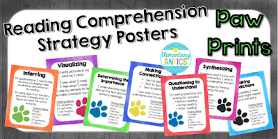 Grab these Paw Print Reading Strategies Posters for FREE to use with your kiddos!