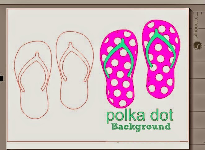 How to Fill a Silhouette Design or Text With a Cuttable Background (Free Studio Cut File), polka dot, flip flops, Silhouette Studio
