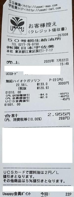 (株)東日本宇佐美 50号桐生SS 2020/7/22 のレシート