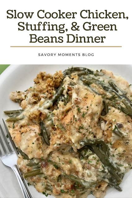 Plate with chicken, stuffing, and green beans layer.