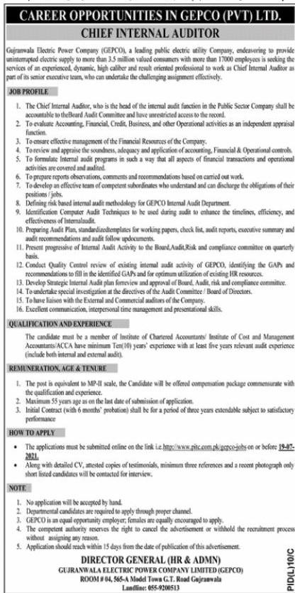 www.pitc.com.pk Jobs 2021 - Gujranwala Electric Power Company (GEPCO) Jobs 2021 in Pakistan