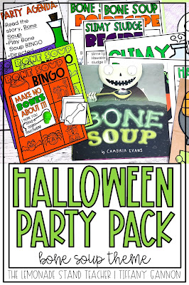 Classroom Halloween Party and Classroom Halloween Decorations for the story Bone Soup!  Halloween activities, Bone Soup recipes, and Halloween Kids' Drinks are all included!  Students will read the story, complete a Halloween directed drawing, create a Halloween trick or treat bag, and play Halloween BINGO!  Halloween gift tags are also included!