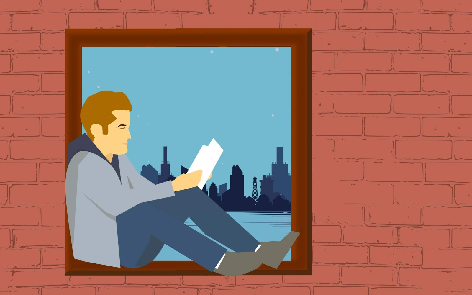 Illustration of man reading book on window