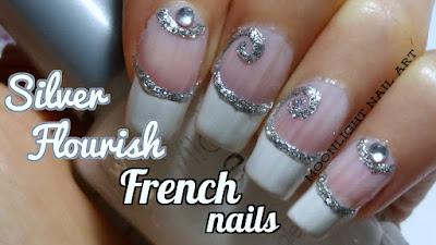 French nail art: silver flourish french easy nail art tutorial