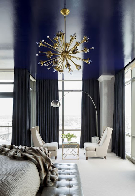 Modern Light Fixture and Deep Blue Painted Ceiling