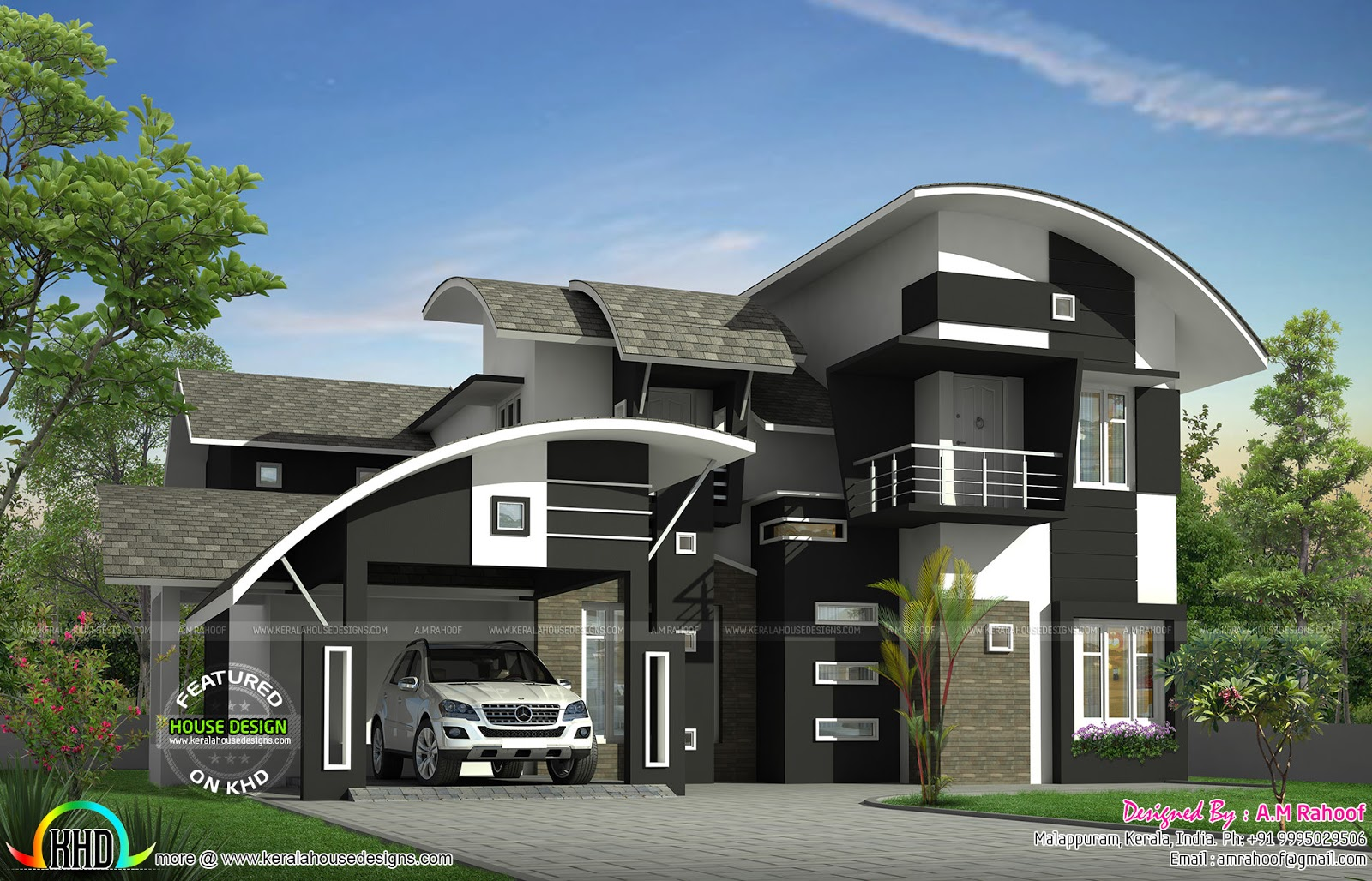 Curved Front Elevation Designs : Sq ft contemporary curved roof home kerala