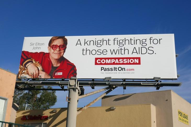 Elton John fighting AIDS Compassion billboard