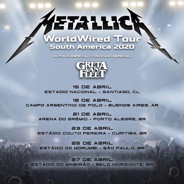 Metallica - Apresentações na America do Sul adiadas por conta da Pandemia