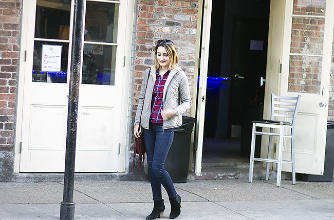 New Orleans Holiday: Plaid Shirt, Uniqlo Down Jacket and The Limited Jeans