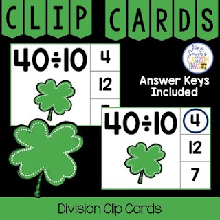 Division Facts 1 to 12 Clip Cards Shamrock Themed