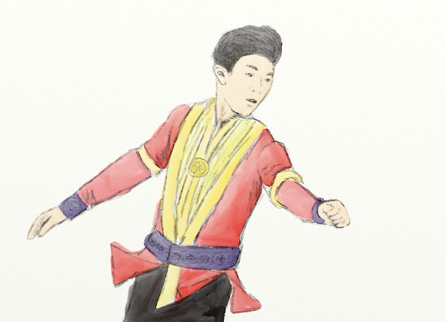 Nathan Chen red prince costume gold details quads figure skating america sketch drawing