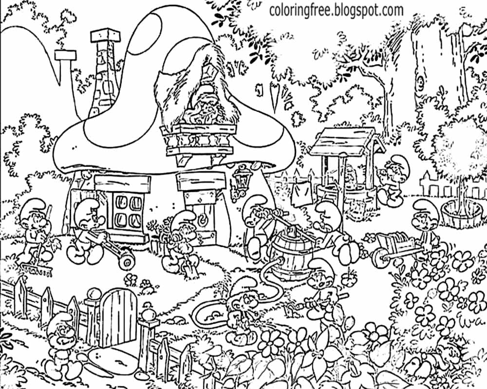 Printable Adult Hard Coloring Ideas Smurfs Town Natural Scenery Vintage TV Drawing Pictures To Color