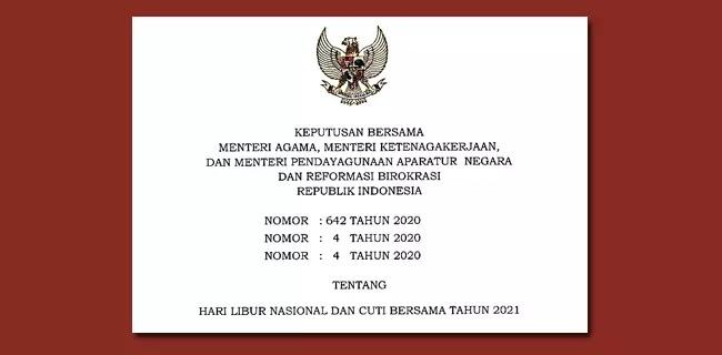 SKB 3 Menteri Hari Libur Nasional dan Cuti Bersama Tahun 2021