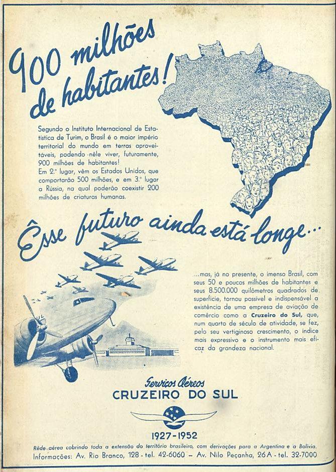 Propaganda antiga dos Serviços Aéreos Cruzeiro do Sul veiculado em 1952