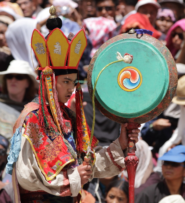 Young monk doubling up as a musician during Hemis Monastery Festival 2016