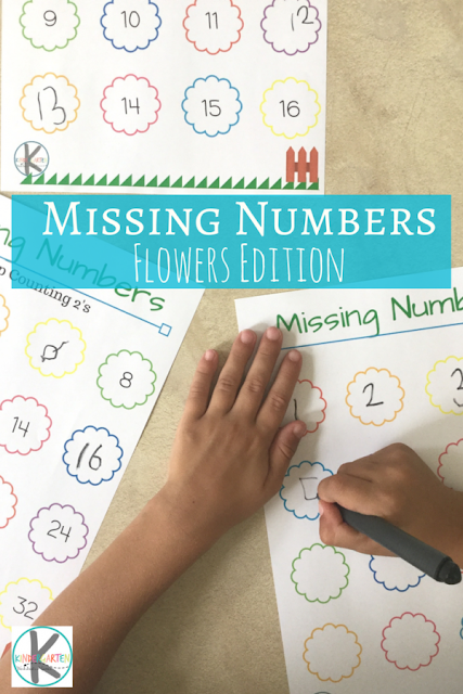 Free Flowers Missing Numbers Kindergarten Worksheets And Games
