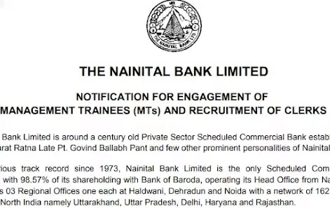 Nainital Bank Limited  Recruitment 2021 - Management Trainee & Clerks