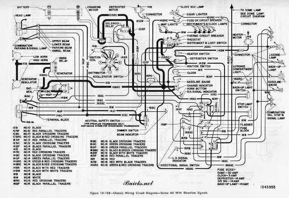 Buick Roadmaster Series 40 1952 Chassis Wiring Circuit