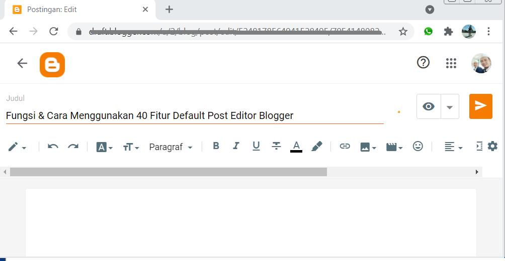 40 Fitur Post Editor Blogger