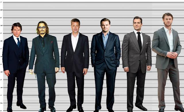 Tom Cruise, Johnny Depp, Brad Pitt, Leonardo DiCaprio, Henry Cavill and, Chris Hemsworth height comparison