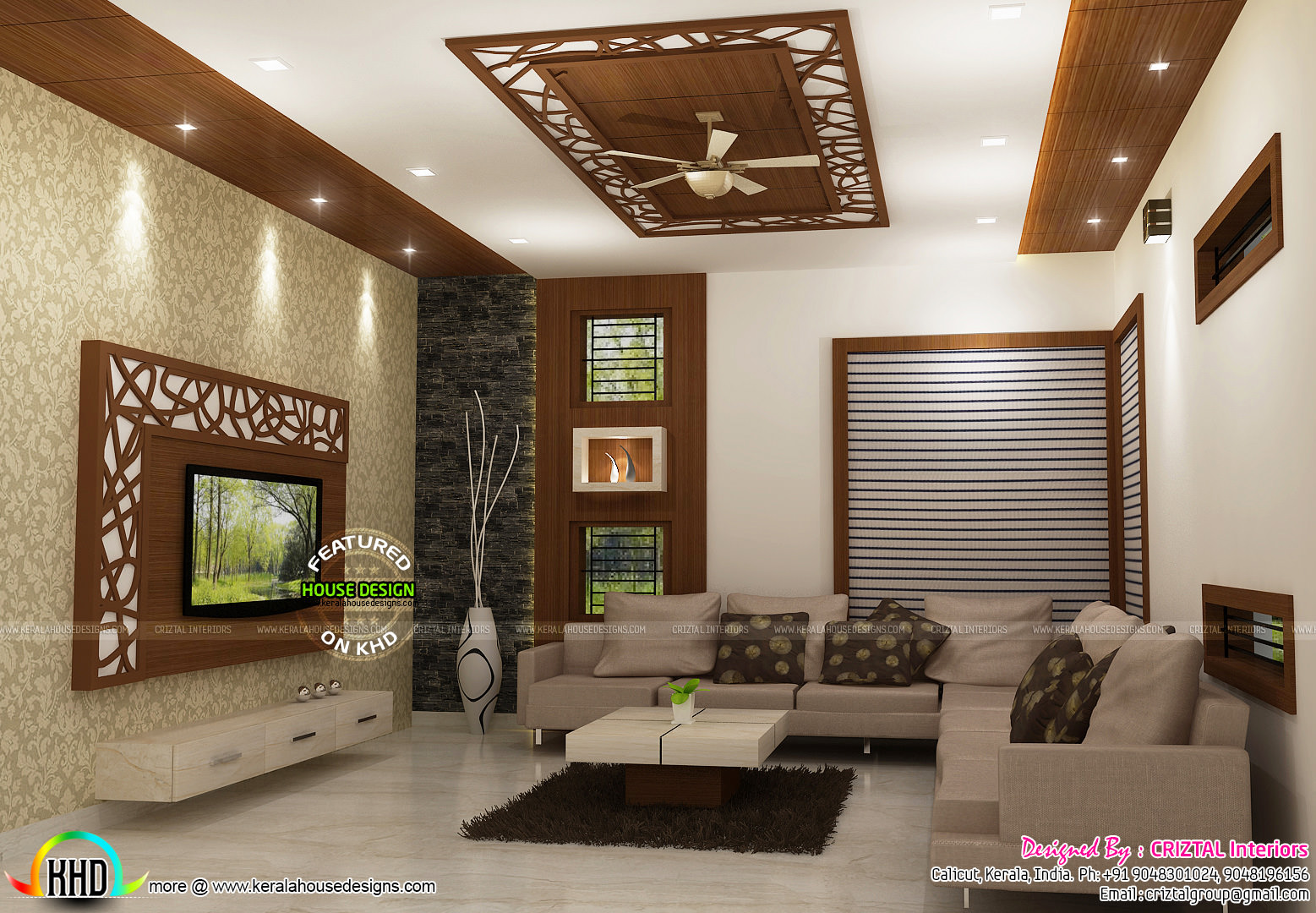 Living bedroom kitchen interior designs kerala home for Kerala house living room interior design