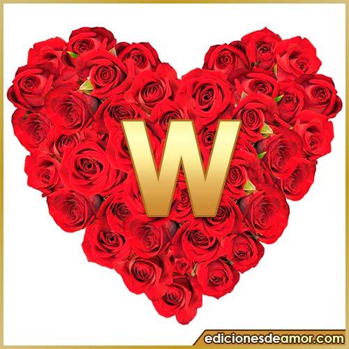 corazón de rosas con letra W