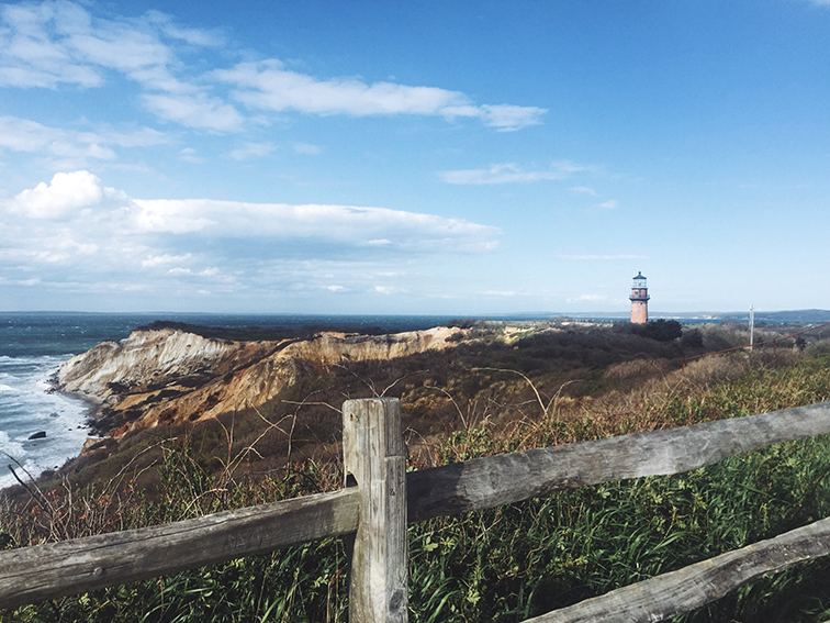 Gay Head Lighthouse, Aquinnah Cliffs, Martha's Vineyard, New England coast
