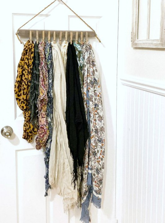 DIY Hanging Scarf Organization for the closet